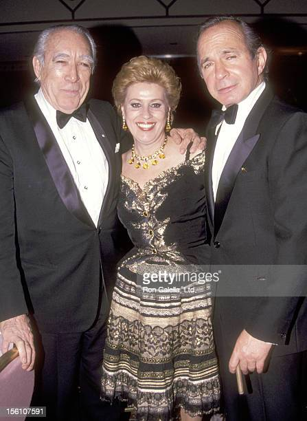 Actor Anthony Quinn and wife Jolanda Addolori and Actor Ben Gazzara attend the 'Shimada' Broadway Opening Night Party on April 23 1992 at Marriott...