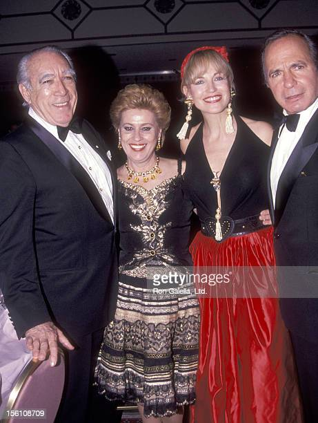 Actor Anthony Quinn and wife Jolanda Addolori and Actor Ben Gazzara and wife Elke Krivat attend the 'Shimada' Broadway Opening Night Party on April...