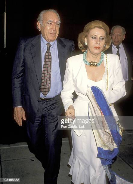 Actor Anthony Quinn and wife Jolanda Addolori attend Barbra Streisand in Concert on June 20, 1994 at Madison Square Garden in New York City, New York.