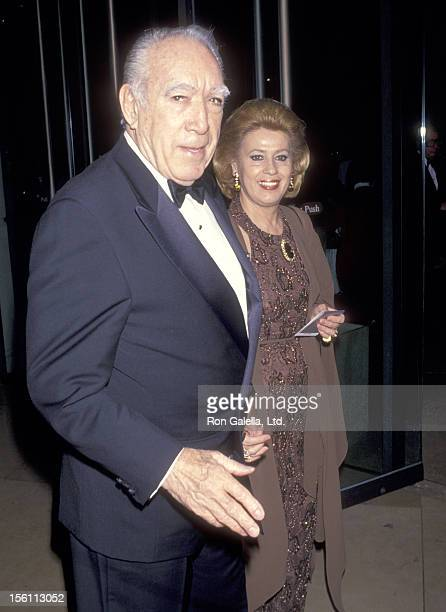 Actor Anthony Quinn and wife Jolanda Addolori attend the 10th Annual American Cinema Awards on February 6 1994 at Beverly Hilton Hotel in Beverly...