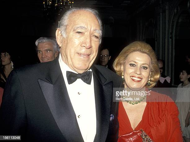 Actor Anthony Quinn and wife Jolanda Addolori attend the 1994 Michael Awards on April 11 1994 at Hotel Macklowe in New York City New York