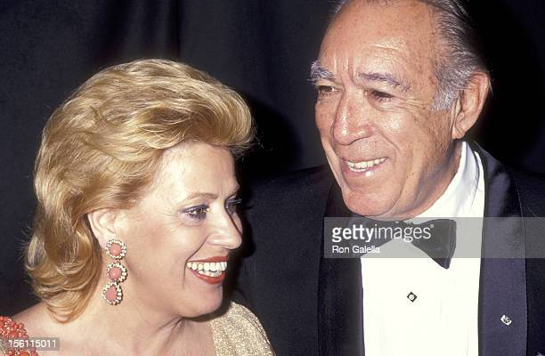 Actor Anthony Quinn and wife Jolanda Addolori attend the 45th Annual Tony Awards on June 2 1991 at Minskoff Theatre in New York City New York