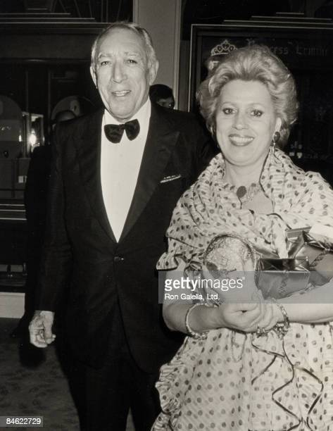 Actor Anthony Quinn and wife Jolanda Addolori attend the 59th Annual Academy Awards Governor's Ball on March 30 1987 at Beverly Hilton Hotel in...