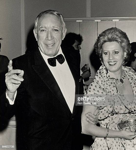 Actor Anthony Quinn and wife Jolanda Addolori attend the 59th Annual Academy Awards Governor's Ball on March 30, 1987 at Beverly Hilton Hotel in...