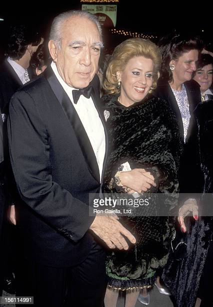 Actor Anthony Quinn and wife Jolanda Addolori attend the 'Cat on a Hot Tin Roof' Broadway Play Opening Night Performance on March 21 1990 at Eugene...
