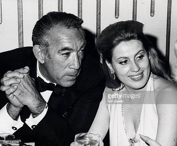 Actor Anthony Quinn and wife Jolanda Addolori attend the 'Cowboy' Beverly Hills Premiere Party on February 5 1972 at Beverly Hilton Hotel in Beverly...