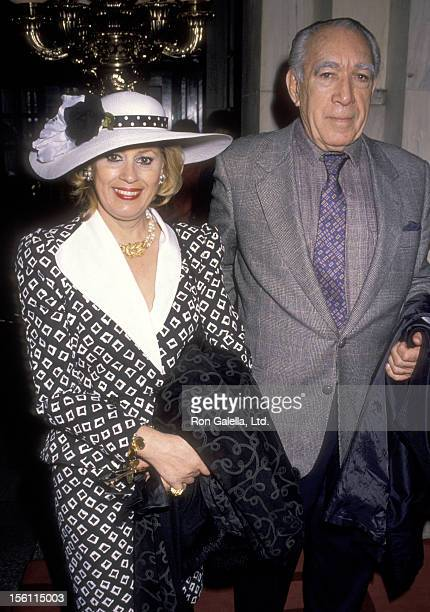 Actor Anthony Quinn and wife Jolanda Addolori attend the Easter Sunday Celebrity Brunch on April 15 1990 at Plaza Hotel in New York City New York