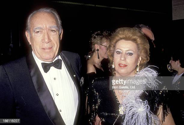 Actor Anthony Quinn and wife Jolanda Addolori attend the Eighth Annual American Cinema Awards on January 12 1991 at Beverly Hilton Hotel in Beverly...
