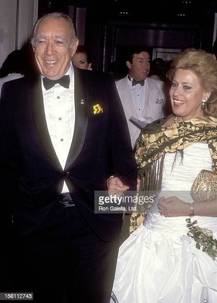 Actor Anthony Quinn and wife Jolanda Addolori attend The Fragrance Foundation's 19th Annual FiFi Awards on June 5, 1991 at the Waldorf-Astoria Hotel...