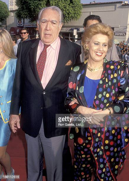 Actor Anthony Quinn and wife Jolanda Addolori attend the 'Last Action Hero' Westwood Premiere on June 13 1993 at Mann Village Theatre in Westwood...