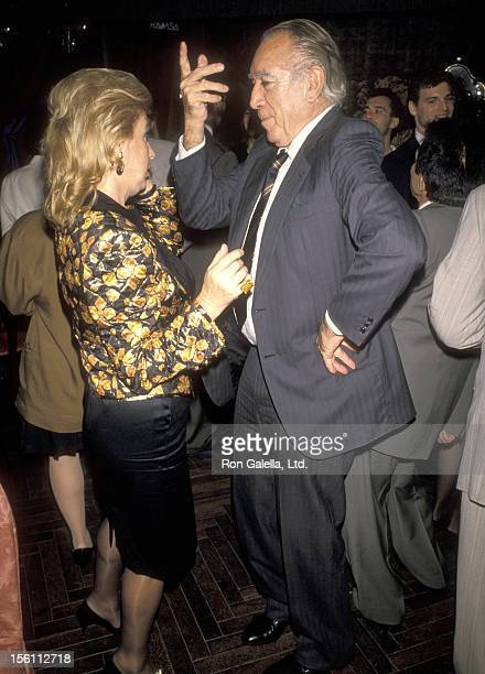Actor Anthony Quinn and wife Jolanda Addolori attend the Party to Celebrate Lorenzo Quinn's Artwork Exhibition on October 11 1990 at Club Tatou in...