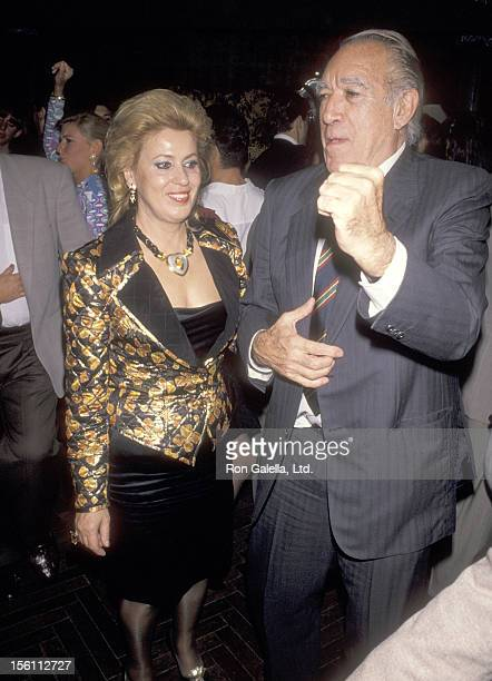 Actor Anthony Quinn and wife Jolanda Addolori attend the Party to Celebrate Lorenzo Quinn's Artwork Exhibition on October 11, 1990 at Club Tatou in...