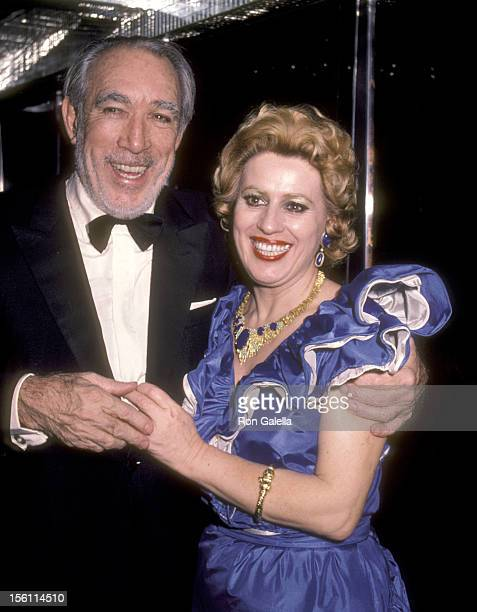 Actor Anthony Quinn and wife Jolanda Addolori attend the Regine's New Year's Eve Party on December 31 1983 at Regine's Disco in New York City New York