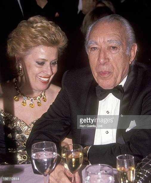 Actor Anthony Quinn and wife Jolanda Addolori attend the 'Shimada' Broadway Play Opening Night Party on April 23, 1992 at Marriott Marquis Hotel in...