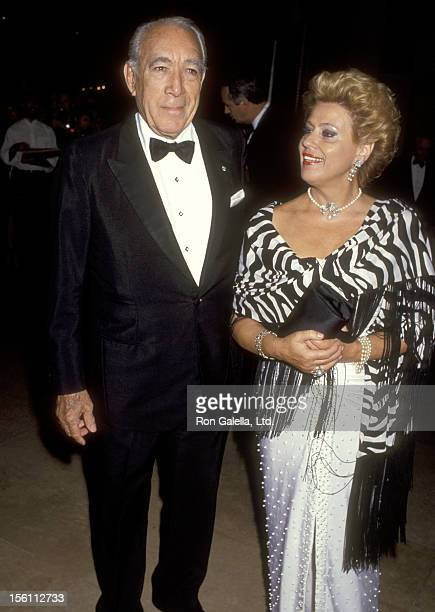 Actor Anthony Quinn and wife Jolanda Addolori attends the Ninth Annual American Cinema Awards on September 12, 1992 at Beverly Hilton Hotel in...