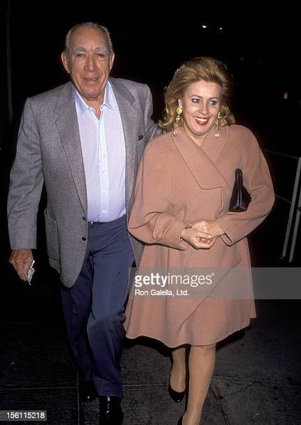 Actor Anthony Quinn and wife Jolanda Addolori on January 17 1991 dining at Spago in West Hollywood California