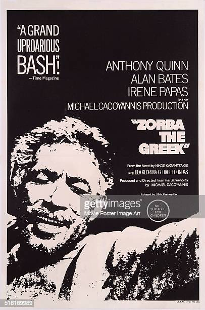 Actor Anthony Quinn appears on a poster for the 20th Century Fox movie 'Zorba the Greek' 1964 The film was directed by Mihalis Kakogiannis and based...