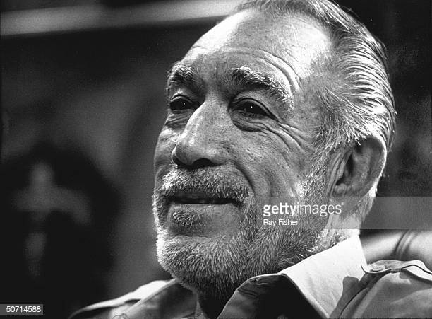 Actor Anthony Quinn during an interview while touring with the stage musical Zorba