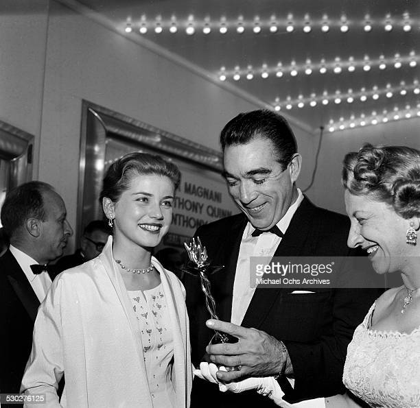 Actor Anthony Quinn receives an award before premiere of Wild is the Wind in Los AngelesCA