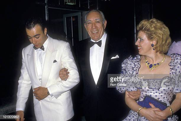 Actor Anthony Quinn, wife Jolanda Addolori, and Lorenzo Quinn attend the Fourth Annual Rita Hayworth Gala to Benefit the Alzheimer's Association on...