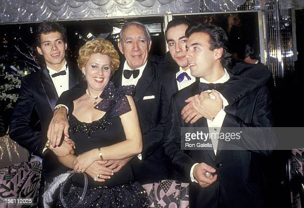Actor Anthony Quinn wife Jolanda Addolori and sons Danny Quinn Lorenzo Quinn and Francesco Quinn attend the Regine's New Years Eve Party on December...