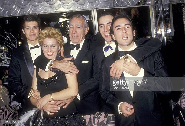 Actor Anthony Quinn, wife Jolanda Addolori and sons Danny Quinn, Lorenzo Quinn, and Francesco Quinn attend the Regine's New Years Eve Party on...