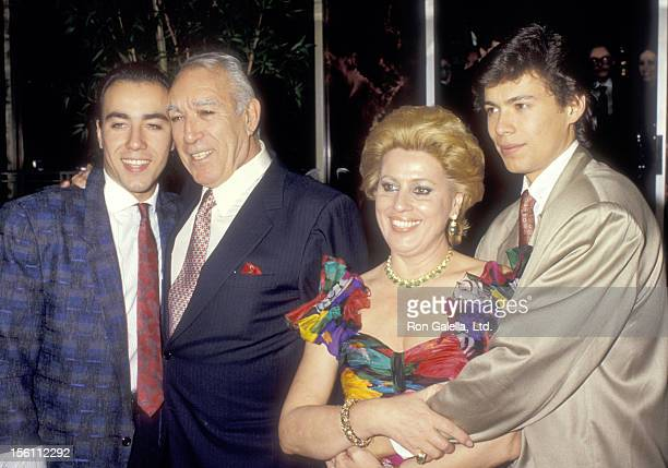 Actor Anthony Quinn wife Jolanda Addolori and sons Lorenzo Quinn and Danny Quinn attend Anthony Quinn's 72nd Birthday Celebration on April 21 1987 at...