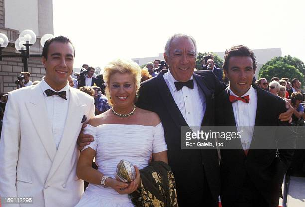 Actor Anthony Quinn wife Jolanda Addolori and sons Lorenzo Quinn and Francesco Quinn attend the 40th Annual Primetime Emmy Awards on August 28 1988...