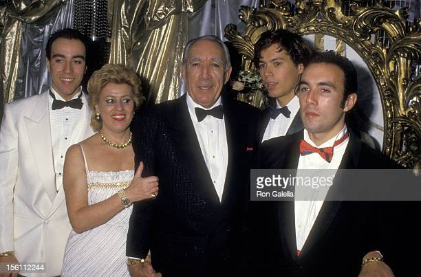 Actor Anthony Quinn wife Jolanda Addolori and sons Lorenzo Quinn Danny Quinn and Francesco Quinn attend the Regine's New Year's Eve Party on December...