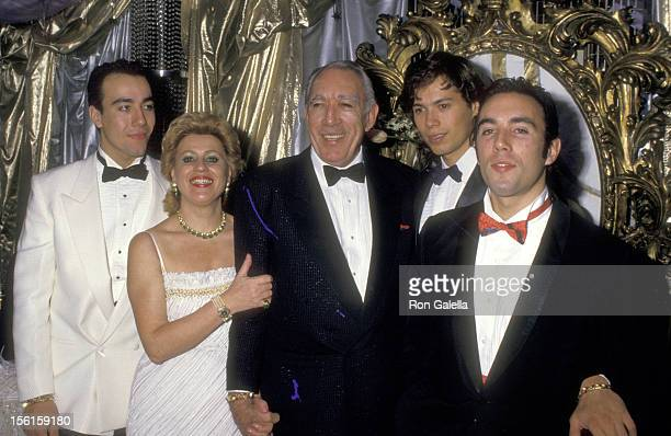 Actor Anthony Quinn, wife Jolanda Addolori and sons Lorenzo Quinn, Danny Quinn, and Francesco Quinn attend the Regine's New Year's Eve Party on...