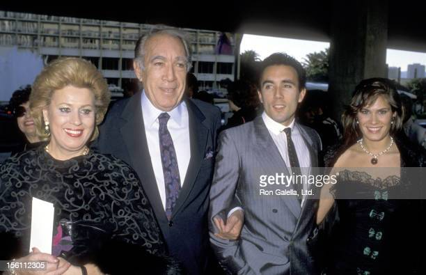 Actor Anthony Quinn wife Jolanda Addolori son Francesco Quinn and girlfriend attend the Century City Premiere of the Restored Version of 'Lawrence of...