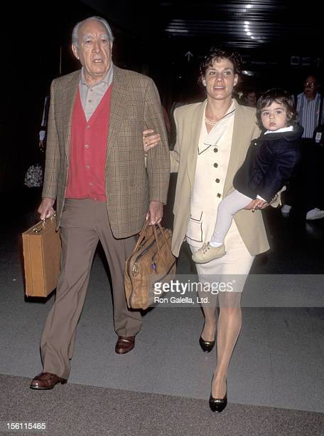 Actor Anthony Quinn wife Kathy Benvin and daughter Antonia Quinn on April 28 1995 departing from the Los Angeles International Airport in Los Angeles...