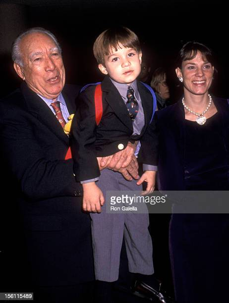 Actor Anthony Quinn wife Kathy Benvin and son Ryan Quinn attend the Whitney Houston's AllStar Holiday Gala on December 4 1999 at Broadway Ballroom...