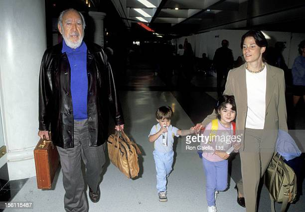 Actor Anthony Quinn wife Kathy Benvin son Ryan Quinn and daughter Antonia Quinn on October 15 1998 departing from the Los Angeles International...