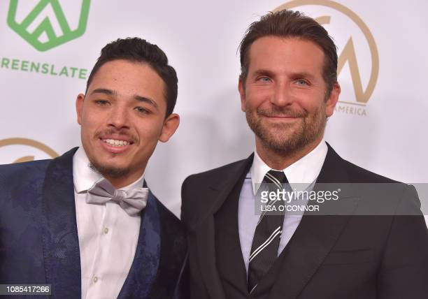 Actor Anthony Ramos and director Bradley Cooper arrive for the 30th Annual Producers Guild Awards at the Beverly Hilton hotel on January 19 2019 in...