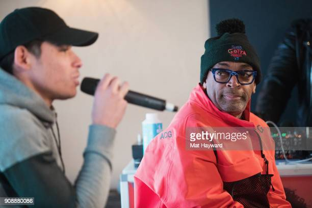 Actor Anthony Ramos and Filmmaker Spike Lee speak during the 'She's Gotta Have It' brunch sponsored by Netflix at Buona Vita on January 22 2018 in...