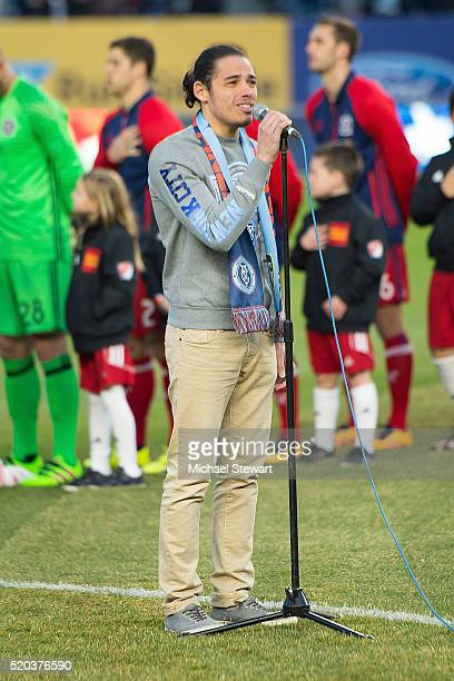 Actor Anthony Ramos sings the National Anthem before the Chicago Fire vs New York City FC match at Yankee Stadium on April 10 2016 in the Bronx...