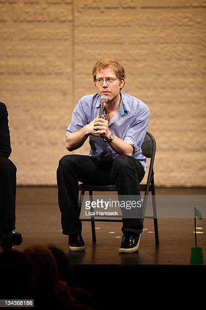 Actor Anthony Rapp participates in the Tuesday Talkout 'Friends in Deed AIDS and the RENT Connection' at the Golden Theatre on May 17 2011 in New...
