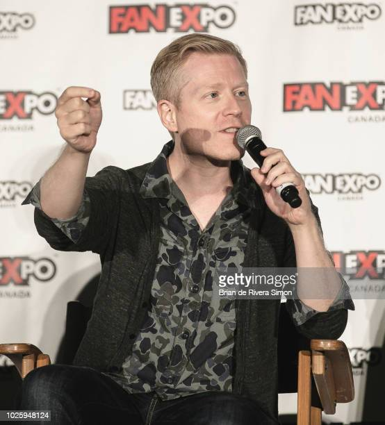"""Actor Anthony Rapp speaks at the Space Presents """"Star Trek: Discovery"""" session during Fan Expo Canada 2018 at Metro Toronto Convention Centre on..."""