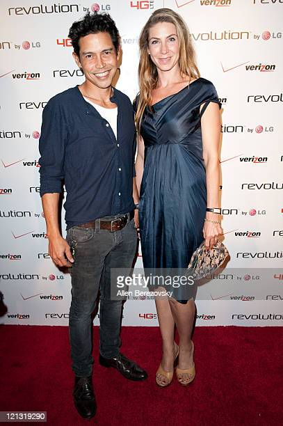 Actor Anthony Ruivivar and guest arrive at the Verizon/LG Revolution 4G LTE smartphone launch event at The Sayers Club on August 17 2011 in Hollywood...