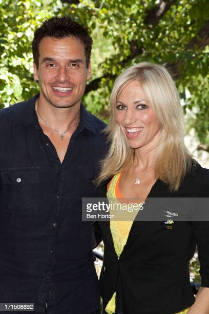 """Actor Anthony Sabato Jr. And singer/songwriter Debbie Gibson attend Debbie Gibson celebrates the 25th anniversary of """"Foolish Beat"""" at Antonio Sabato..."""