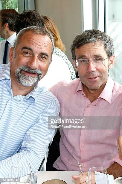 Actor Antoine Dulery and journalist David Pujadas attend the 'France Television' Lunch during the 2016 French Tennis Open Day Six at Roland Garros on...