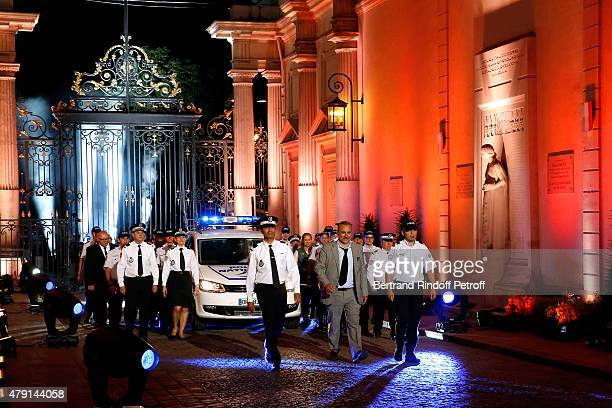 Actor Antoine Dulery and Policemen attend the 'Une Nuit avec la Police et la Gendarmerie' France 2 TV Show Held at Ministere de l'Interieur in Paris...