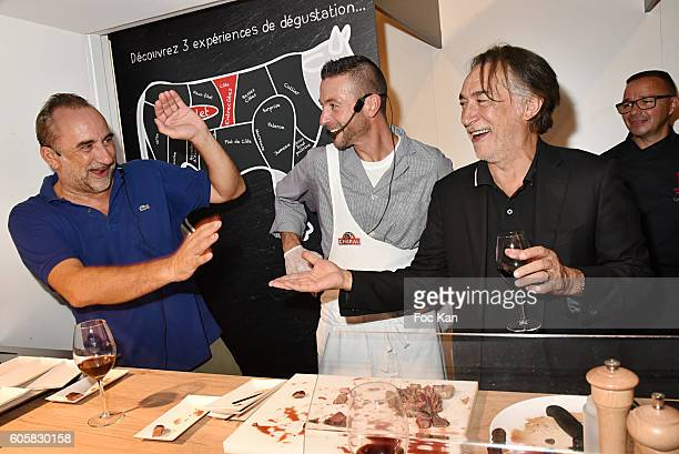 Actor Antoine Dulery, Charal Chef Ludovic Robineau and actor Richard Berry attend the 'Charal' 30th Anniversary Pop Up Store Opening Party at Rue des...