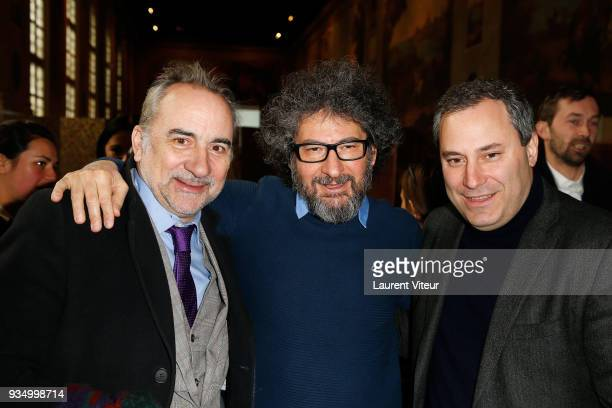 Actor Antoine Dulery Director Radu Mihaileanu and President of Moma Group Benjamin Patou attend 'Opera en Plein Air' Press Confernce at Hotel Des...