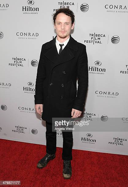 Actor Anton Yelchin arrives at the 2014 Tribeca Film Festival LA Kickoff Reception at The Beverly Hilton Hotel on March 17, 2014 in Beverly Hills,...