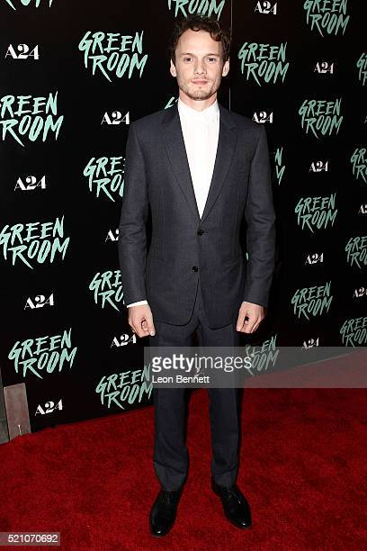 Actor Anton Yelchin attends the premiere of A24's 'Green Room' at ArcLight Hollywood on April 13 2016 in Hollywood California