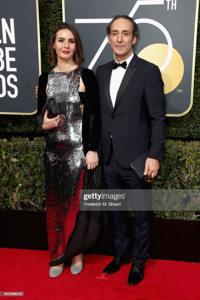 Actor Antonia Desplat (L) and composer Alexandre Desplat attend The 75th Annual Golden Globe Awards at The Beverly Hilton Hotel on January 7, 2018 in Beverly Hills, California.
