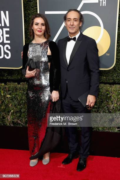 Actor Antonia Desplat and composer Alexandre Desplat attend The 75th Annual Golden Globe Awards at The Beverly Hilton Hotel on January 7 2018 in...