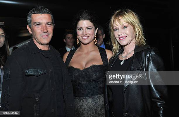 Actor Antonio Banderas actress Gina Carano and actress Melanie Griffith arrive to the premiere of Relativity Media's Haywire at DGA Theater on...